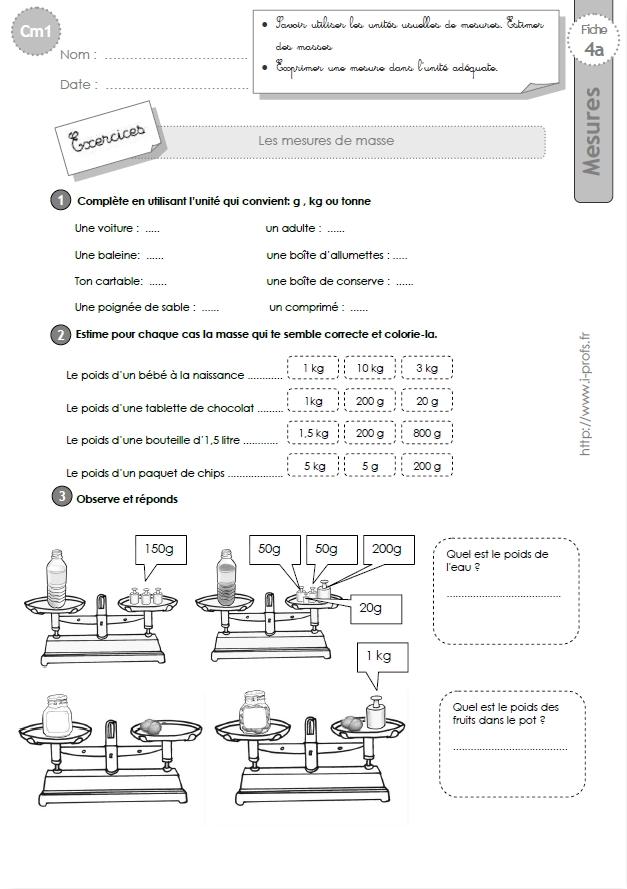 Cm1 Exercices Les Mesures De Masses Estimation