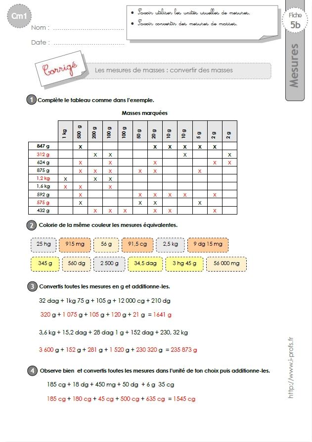 cm1: Exercices MESURES DE MASSES conversion