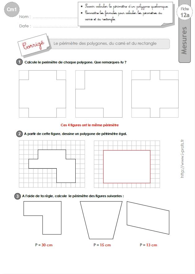 cm1 exercices calculer le perimetre du carre et du rectangle. Black Bedroom Furniture Sets. Home Design Ideas