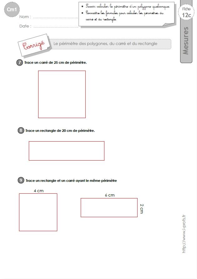cm1: Exercices Calculer le PERIMETRE du CARRE et du RECTANGLE