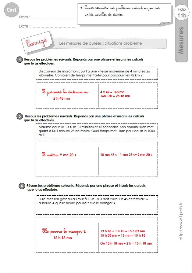 Cm1 Problemes Sur Les Mesures De Durees