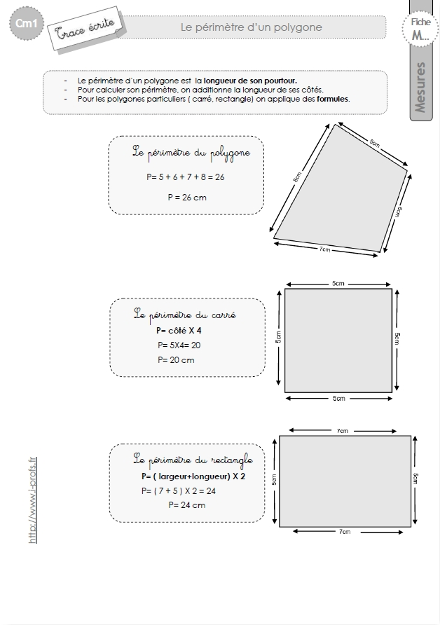 Cm1 le on sur le calcul de perimetre - Calcul de metre carre ...