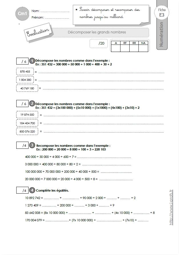 Cm1 evaluation d composer les nombres for Multiplication cm1 en ligne