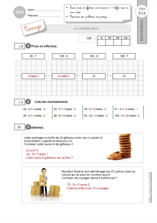 Cm1 evaluation la division 1 chiffre au diviseur for Multiplication cm1 en ligne