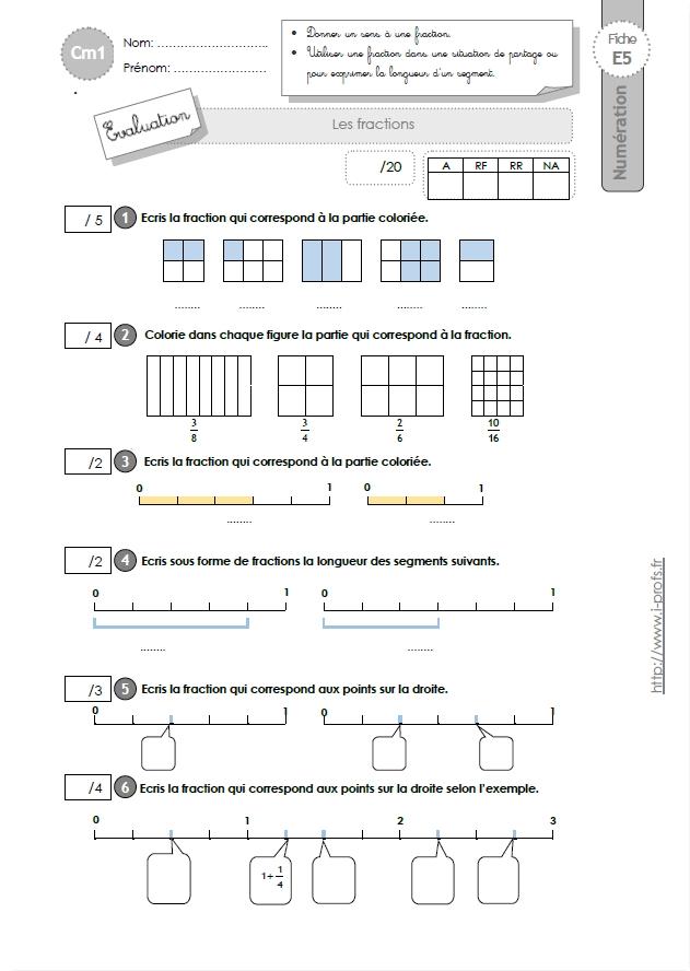 Cm1 evaluation les fractions - Les fractions cm1 exercices a imprimer ...
