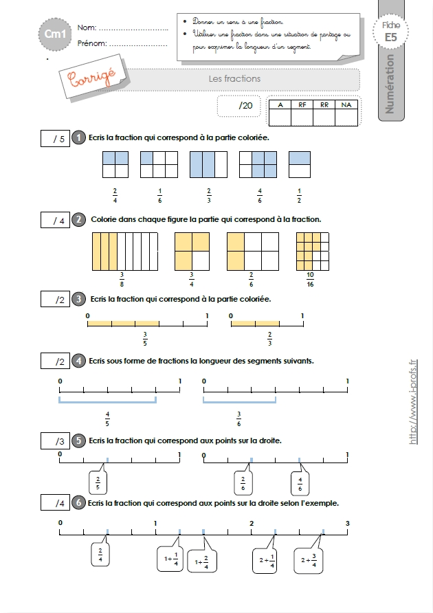 Cm1 evaluation les fractions - Fraction cm1 a imprimer ...