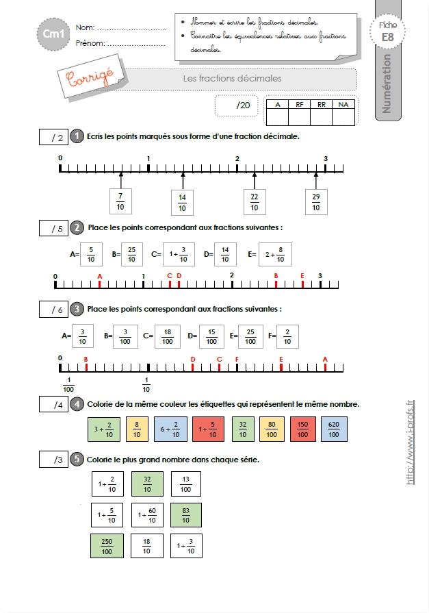Cm1 evaluation les fractions d cimales - Les fractions cm1 exercices a imprimer ...