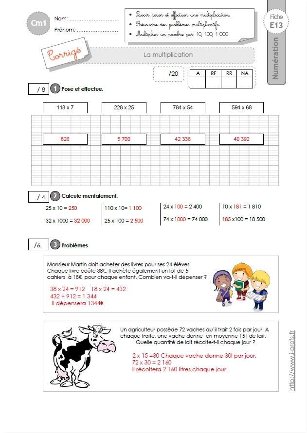Cm1 evaluation la technique op ratoire de la multiplication for Multiplication cm1 en ligne