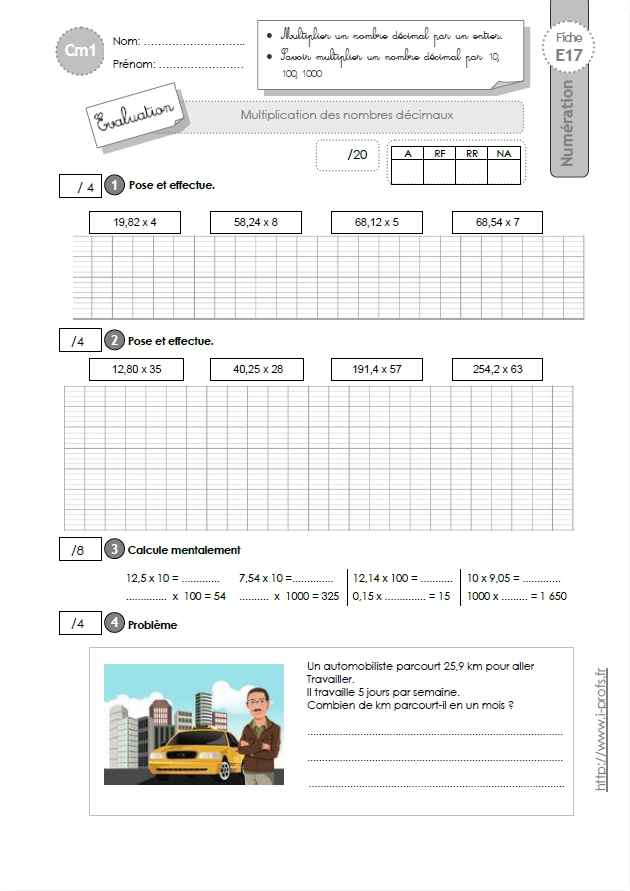 Cm1 evaluation multiplication d cimale - Evaluation multiplication ce2 a imprimer ...