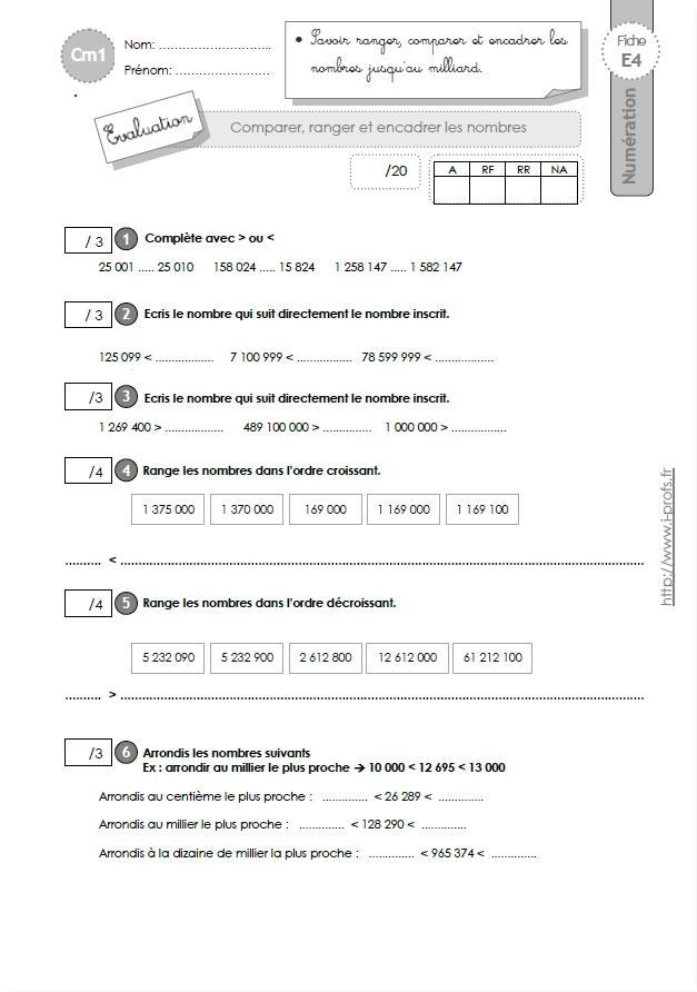 cm1 evaluation comparer et ranger les nombres. Black Bedroom Furniture Sets. Home Design Ideas