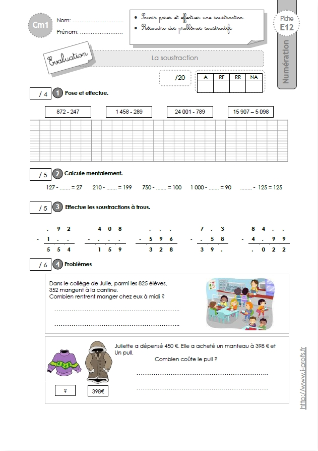 Cm1 evaluation la technique op ratoire de la soustraction for Exercice multiplication cm1