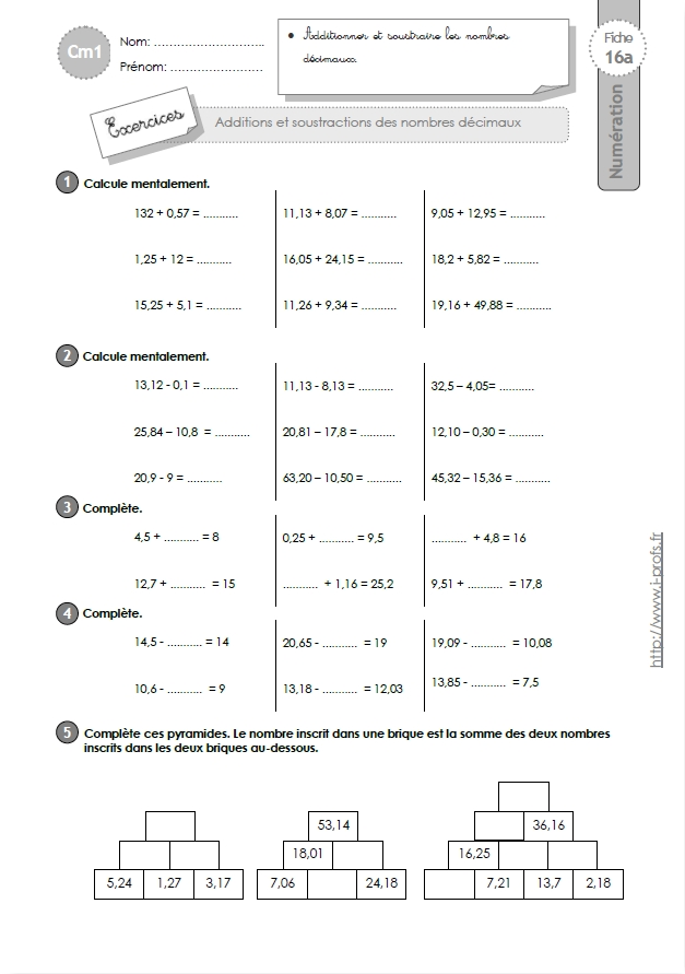 Evaluation cm1 addition soustraction multiplication for Exercice multiplication cm1