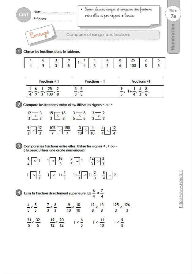 cm1 exercices comparer ranger et encadrer les fractions. Black Bedroom Furniture Sets. Home Design Ideas