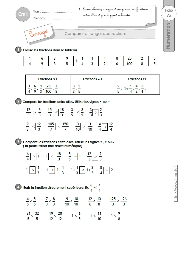 Cm1 exercices comparer ranger et encadrer les fractions - Fraction cm1 a imprimer ...
