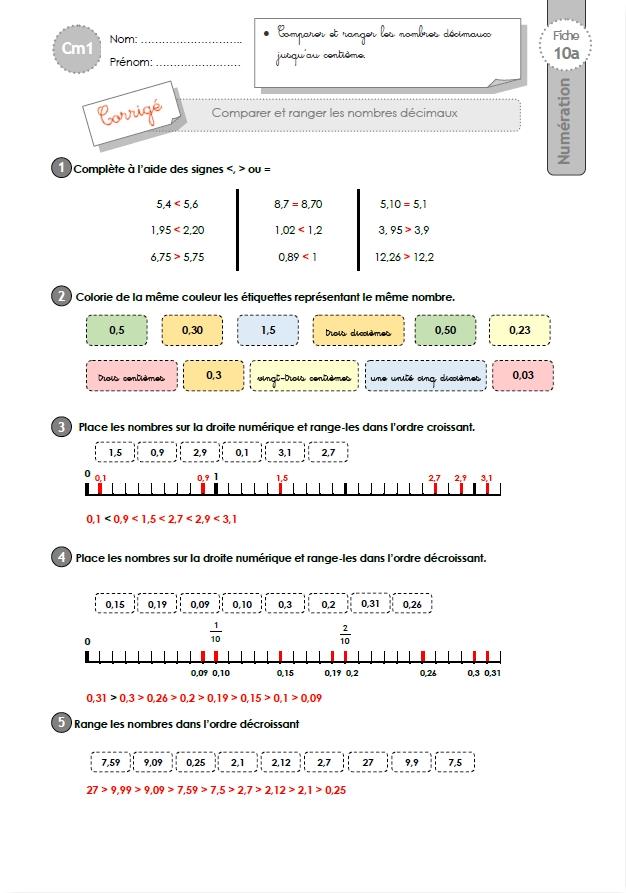 CM1: EXERCICES Comparer et ranger les nombres décimaux