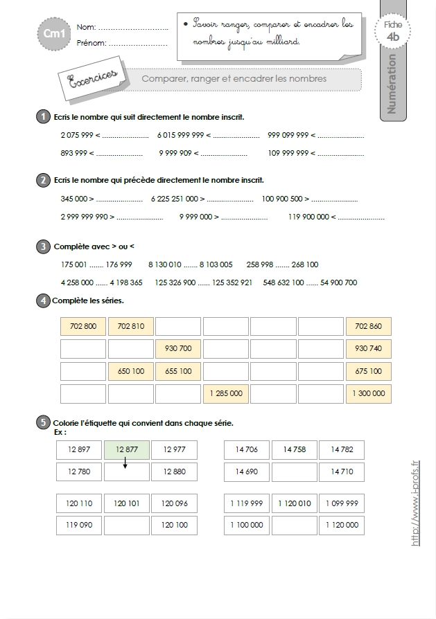 cm1 exercices comparer et ranger les grands nombres. Black Bedroom Furniture Sets. Home Design Ideas