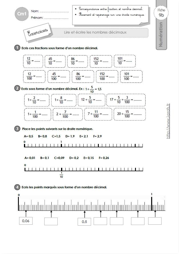 Cm1 Exercices Lire Et Ecrire Les Nombres Decimaux