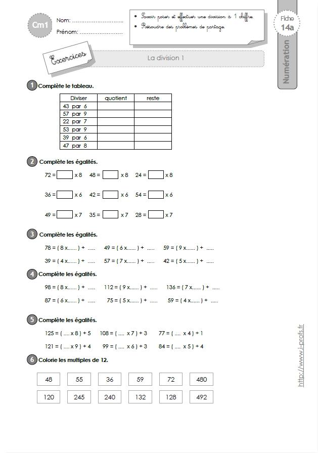 CM1: EXERCICES La division à 1 chiffre