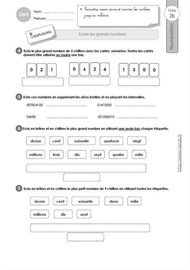 CM1: EXERCICES Ecrire les grands nombres