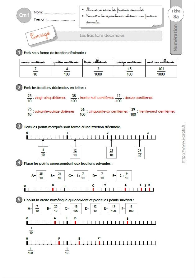 Cm1 exercices les fractions d cimales - Fraction cm1 a imprimer ...