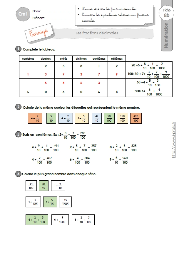 Cm1 Exercices Les Fractions Decimales
