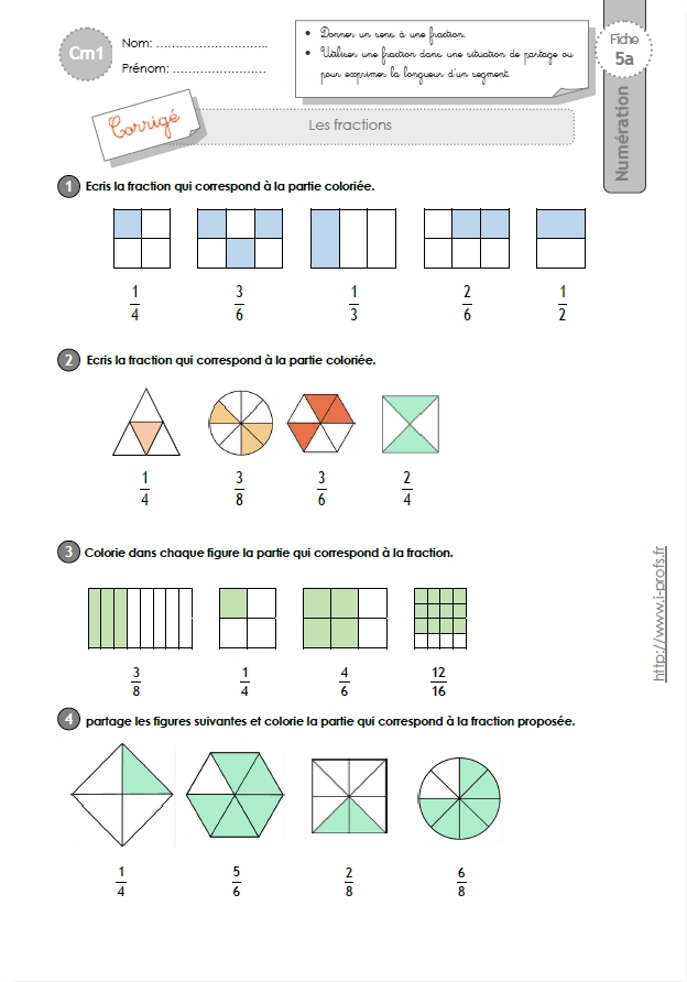 CM1: EXERCICES Les Fractions