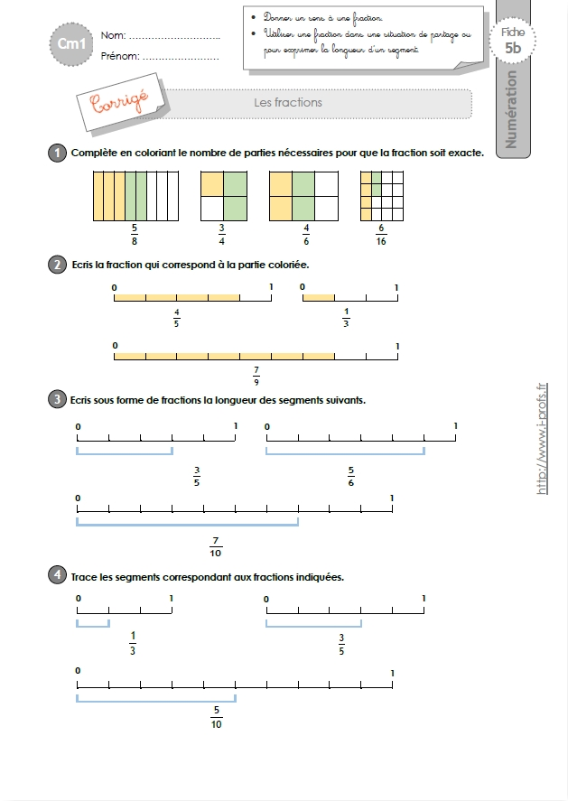 cm1: NUMERATION ET CALCUL fiches i-profs