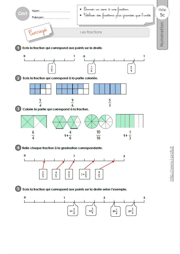 Cm1 exercices les fractions - A portee de maths cm2 en ligne ...