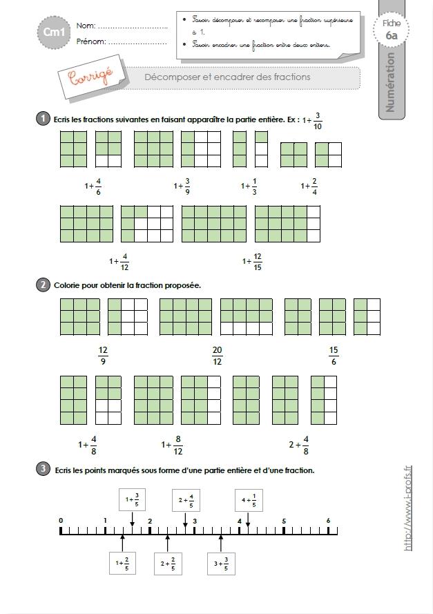 CM1: EXERCICES Décomposer les fractions