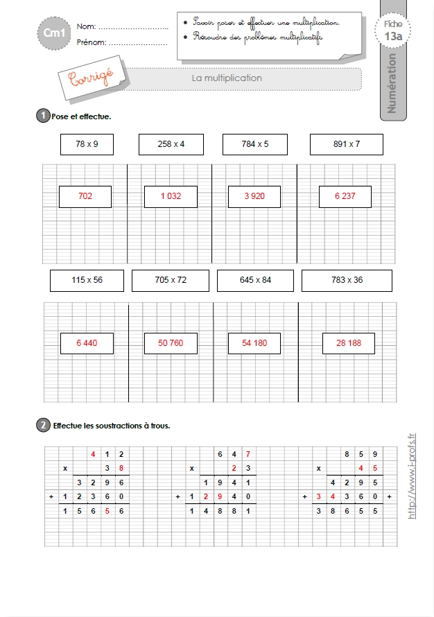 Exercice multiplication ce1 exercices ateliers pour for Exercice table de multiplication cm1