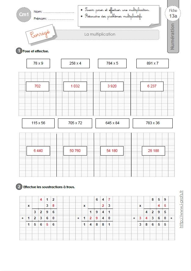 Cm1 exercices la multiplication des nombres entiers - Evaluation multiplication ce2 a imprimer ...