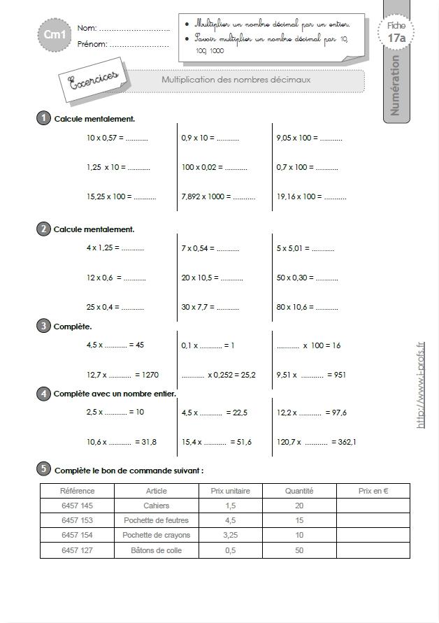 Cm1 exercices la multiplication decimale - Calcul cm1 a imprimer ...
