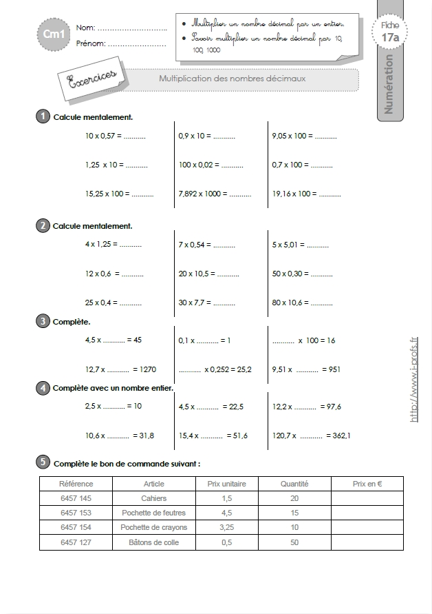 Cm1 exercices la multiplication decimale - Evaluation multiplication ce2 a imprimer ...