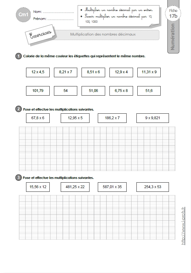 Cm1 exercices la multiplication decimale for Table de multiplication exercice