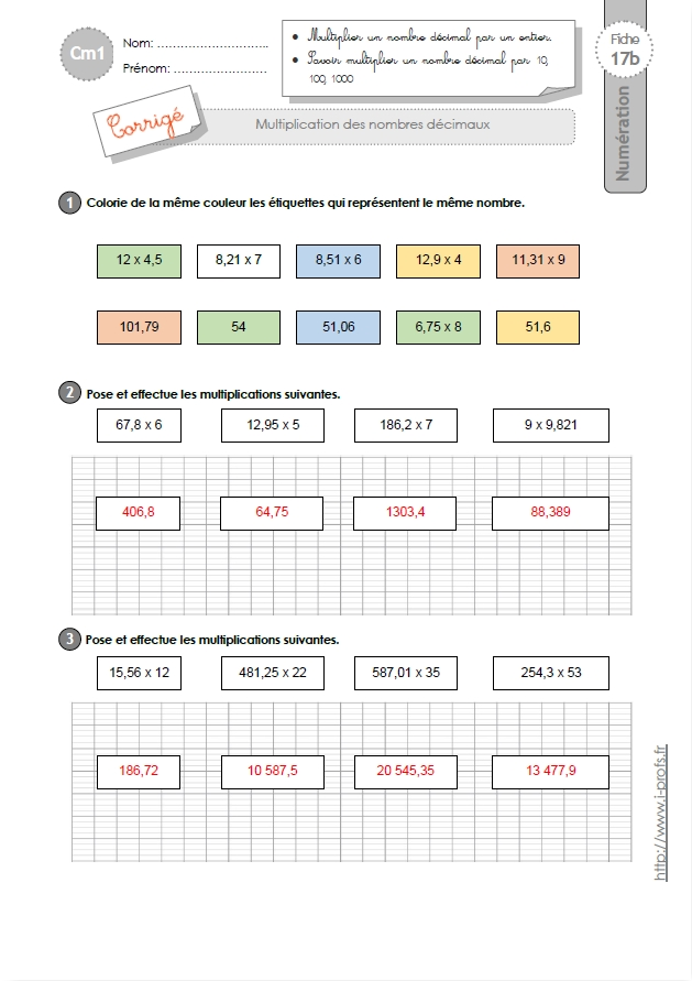 Exercice category exercice sur les verbes ce1 exercice for Exercice table de multiplication cm1