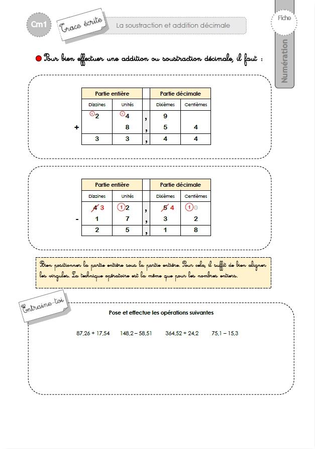 CM1: TRACE ECRITE L'addition et la soustracton decimale