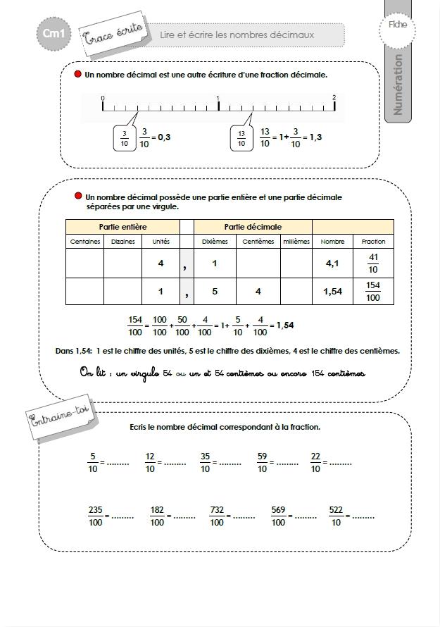 Cm1 Trace Ecrite Lire Et Ecrire Les Nombres Decimaux