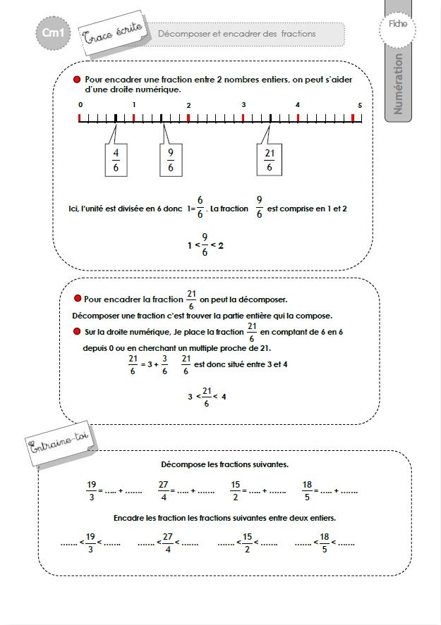 Cm1 trace ecrite d composer et encadrer les fractions - Les fractions cm1 exercices a imprimer ...