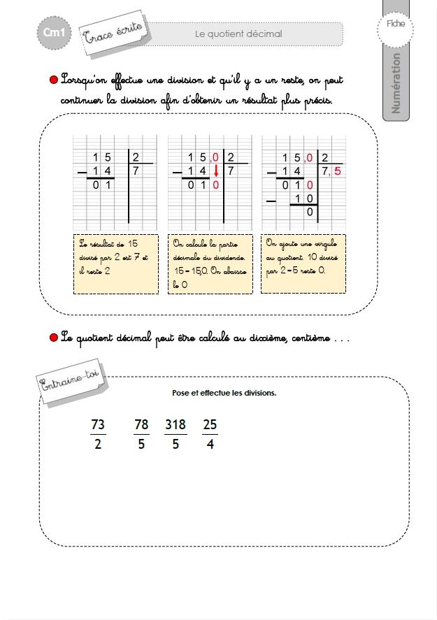 CM1: TRACE ECRITE La division avec quotient décimal