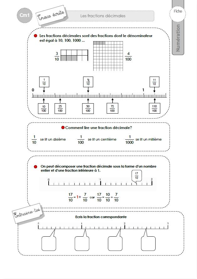 CM1: TRACE ECRITE Les fractions décimales