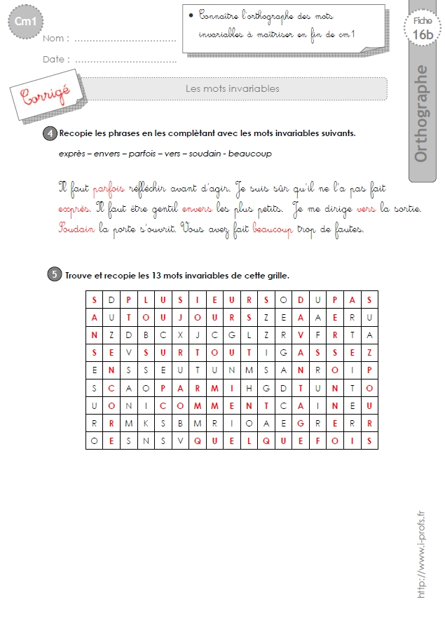 cm1:EXERCICES les mots invariables