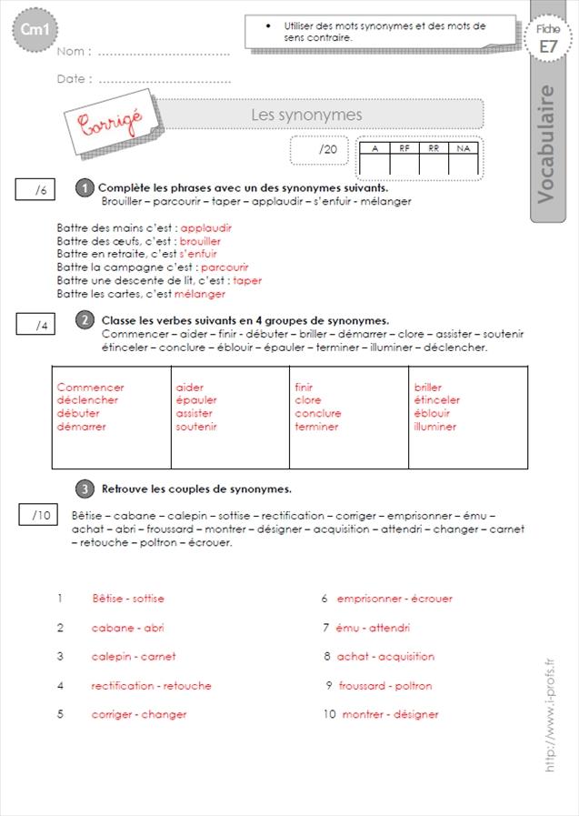 Evaluation VOCABULAIRE CM1: Les Synonymes