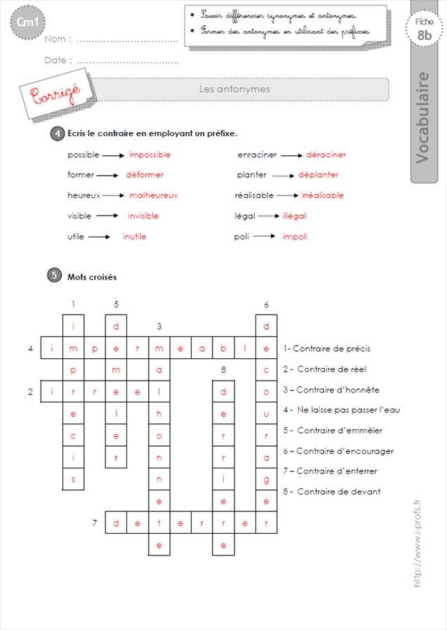 EXERCICES VOCABULAIRE CM1: Les Antonymes