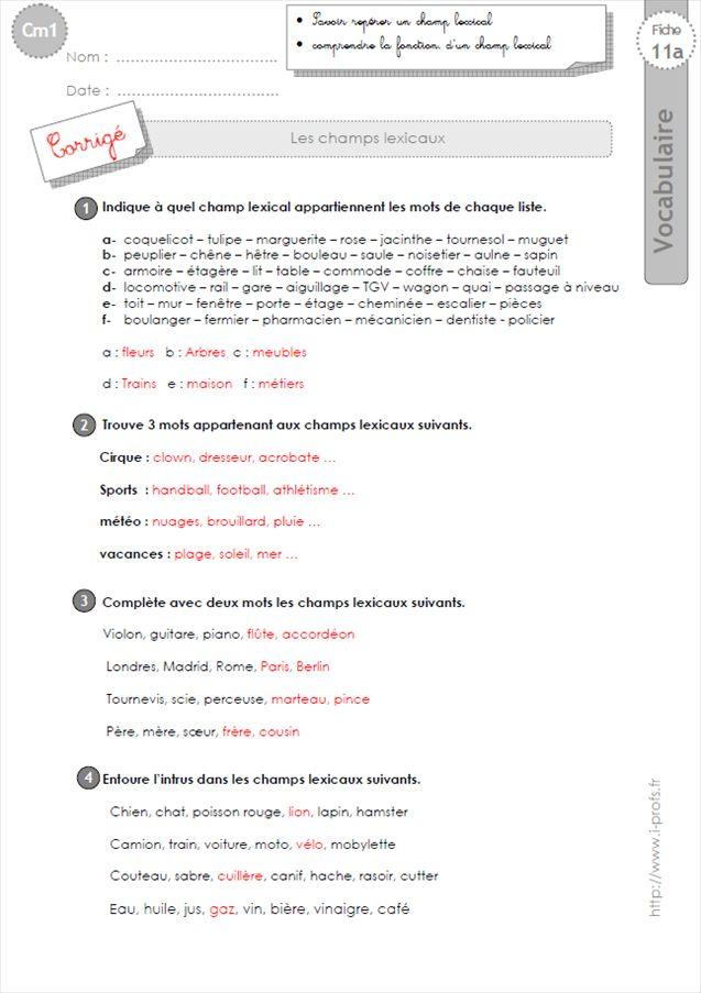EXERCICES VOCABULAIRE CM1: Les champs lexicaux