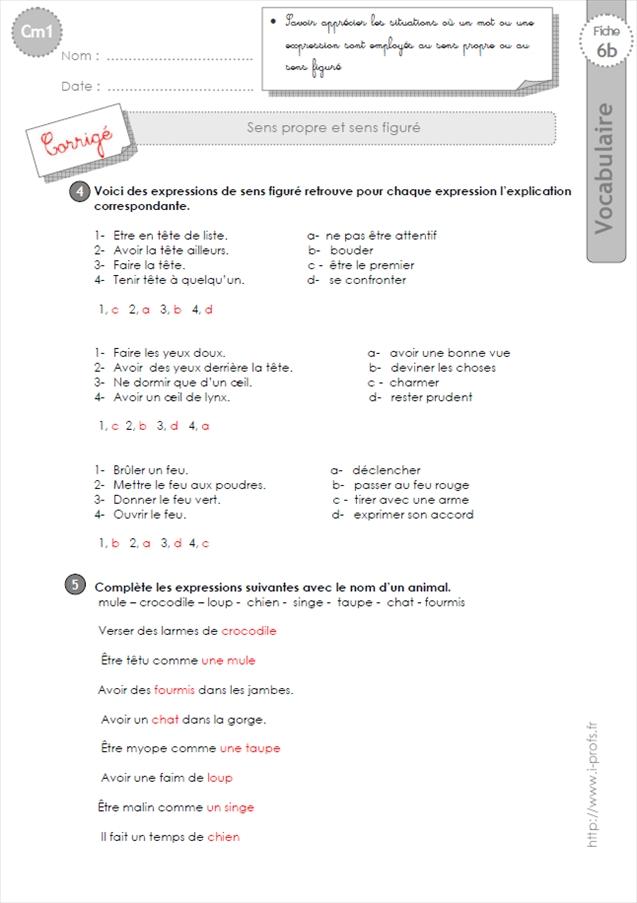 EXERCICES VOCABULAIRE CM1: Le sens propre et sens figure
