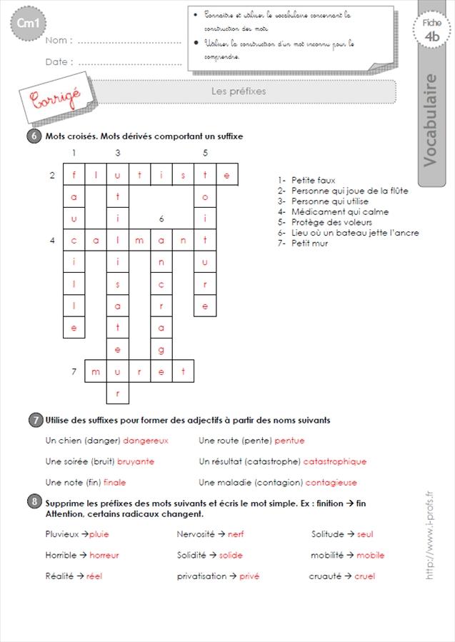 EXERCICES VOCABULAIRE CM1: Les suffixes