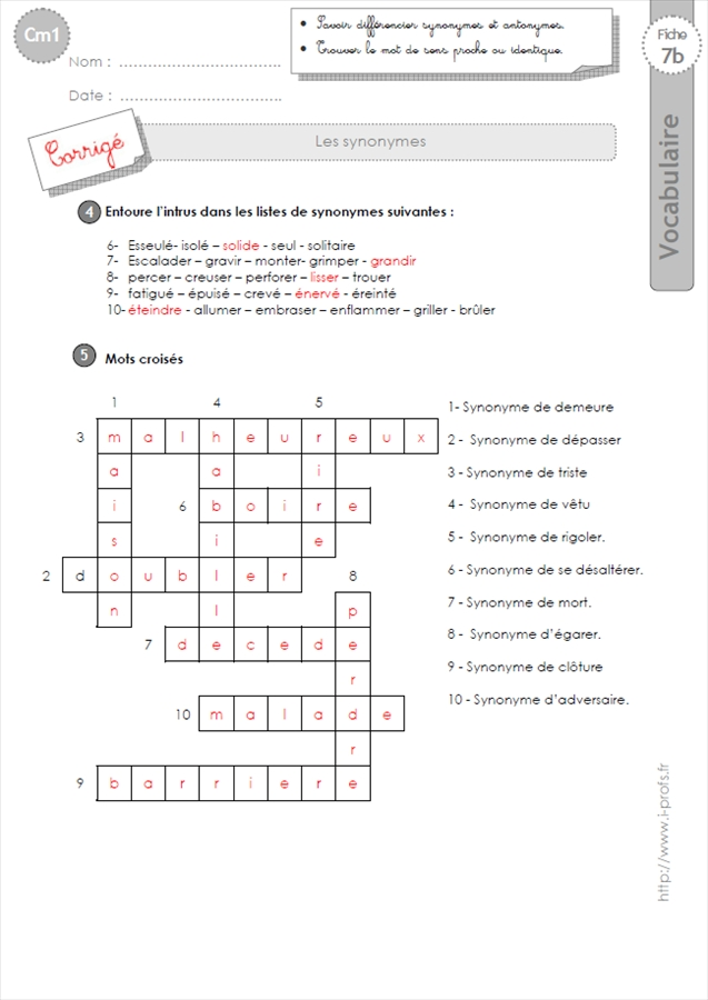 Exercices VOCABULAIRE CM1: les Synonymes