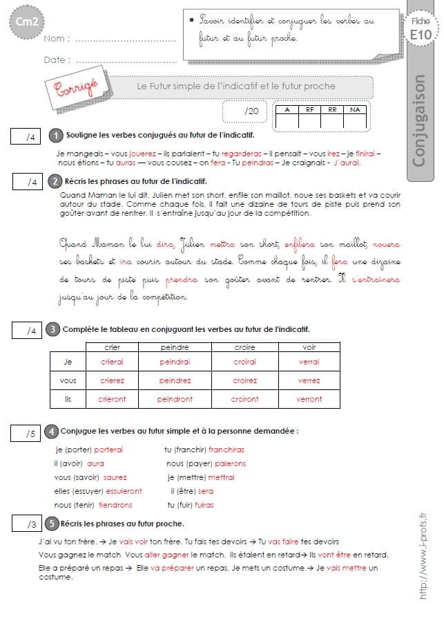 Cm2 evaluation conjugaison corrig s futur simple et futur - Conjugaison cm2 a imprimer ...