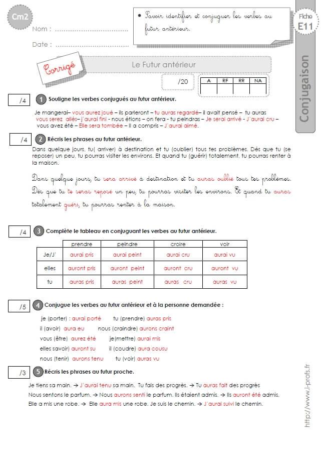 Cm2 Evaluation Conjugaison Corriges Futur Anterieur