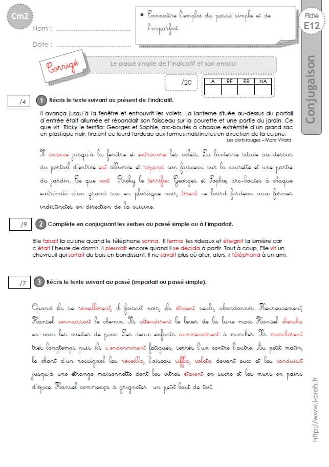CM2:EVALUATION CONJUGAISON corrigés Le passé simple et son emploi